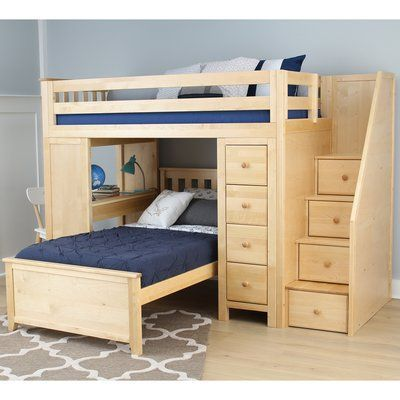Harriet Bee Desilets Staircase Combo Twin Over Twin Loft Bed Bed