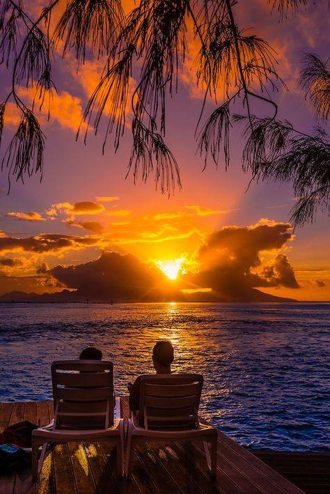 Sunset seen from Manava Suite Beach Resort, Punaauia, Tahiti, French Polynesia ~ by Blaine Harrington Photography Beautiful Sunrise, Beautiful Beaches, Tahiti, Bora Bora, Amazing Sunsets, French Polynesia, Beach Resorts, Beautiful World, Places To See