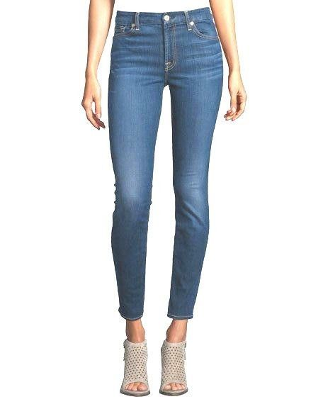 New Ladies 7 For All Mankind Mid Waist Ankle Skinny Jeans Womens