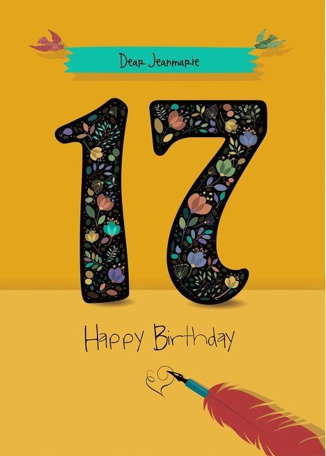 17th Birthday Card Floral Artistic Number Custom Text And Name Front Card Ad Ad Floral Artistic Card Art Birthday Birthday Cards 17th Birthday