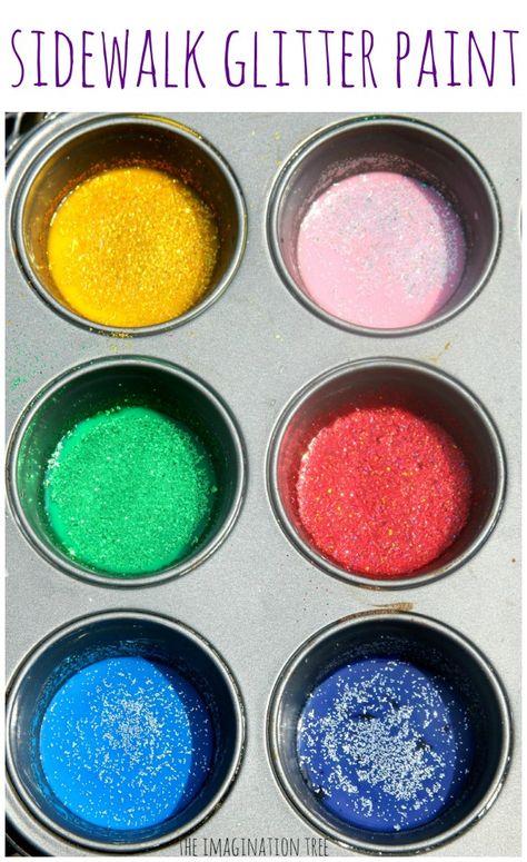 Rainbow Glitter Sidewalk Paint by theimaginationtree: Gorgeous and sparkly! #Kids #Crafts #Sidewalk_Glitter_Paomt