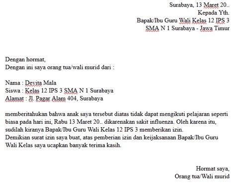 Contoh Surat Izin Sakit Guru Kepada Kepala Sekolah Kepala Sekolah Guru Sekolah