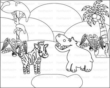 Outline Wild Jungle School Woodland Clip Art Zoo Line Stamp Africa Animal 068 Africa Animals Clip Art Art