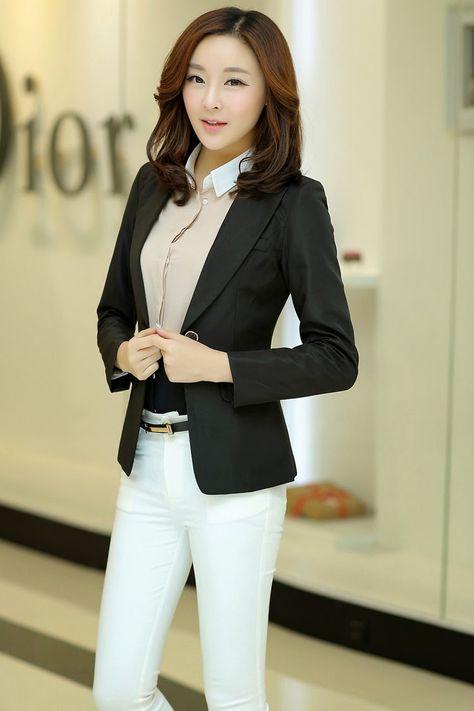 bf4227c814e 2015 spring new Women Korean Slim lapel collar double pocket leisure suit  define aesthetically pleasing face   Japanese street fashion japanese  fashion ...