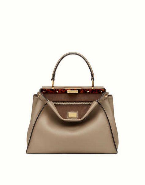 PEEKABOO REGULAR - dove gray leather handbag. Discover the new collections on Fendi official website. Ref: 8BN2903ZLF0E65