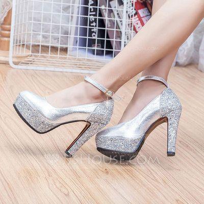 Women's Leatherette Chunky Heel Closed