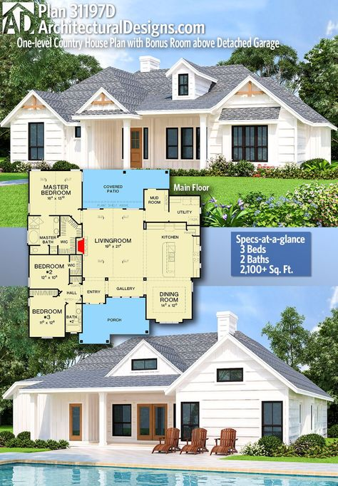 Plan 31197d One Level Country House Plan With Bonus Room Above Detached Garage House Plans Farmhouse Country House Plans Country House Plan
