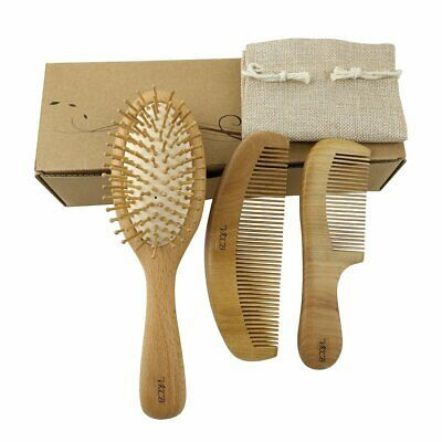 Ad Natural Wood Hair Brush With Wooden Bristles Massage Scalp Comb And Peach Woo Wooden Hair Brush Wood Beard Comb Wooden Brush