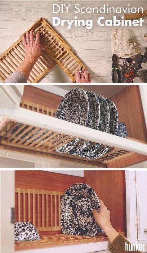 Create A Scandinavian Drying Cabinet From An Amazon Bamboo Rack Hunker Drying Rack Diy Scandinavian Home Bamboo Shelf