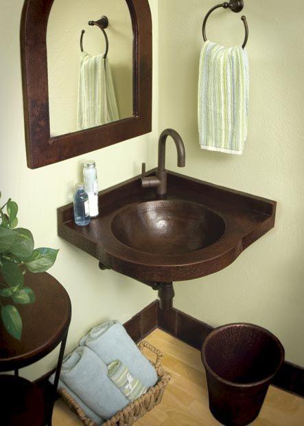 Five Bathroom Sinks For The Corner Corner Sink Bathroom Small Bathroom Inspiration Copper Sink Bathroom