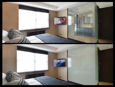 Switchable Glass Bathroom Partition When Switch Off It Is Opaque When Switch On It Is Transparent It Can From Opaqu Home Glass Partition Wall Smart Glass