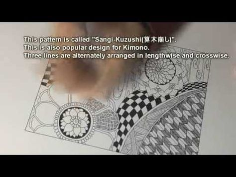 How To Draw Japanese Patterns In Zentangle Doodling Youtube