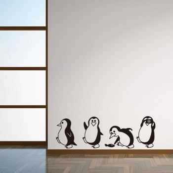 Vinyl Wall Decals ❤ Cute Penguin Cartoon Wall Stickers For Kids Room Decoration Robotic Lawn Mowers Simple Wall Paintings, Creative Wall Painting, Wall Painting Decor, Faux Painting, Painting Furniture, Diy Wand, Wall Stickers Home, Wall Decals, Cartoon Wall