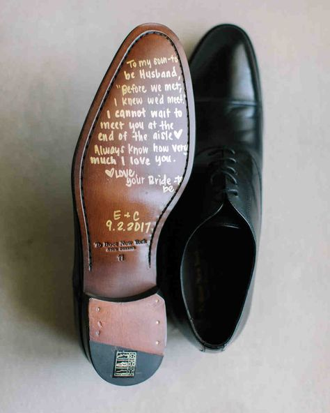 20 Personalized Wedding Ideas You'll Want to Copy | Martha Stewart Weddings - This shoe note is too adorable. Make your groom's getting-ready session all the more personal by leaving a handwritten note on the sole of his shoe, complete with your anniversary date. #weddingideas #wedding #groomstyle