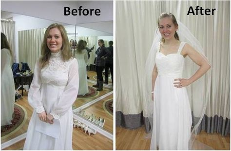 Wedding dress transformation - Come see how Laura turned her mom's vintage dress into a modern one for her own wedding!