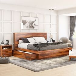 Brocton Rustic Solid Wood Low Height Storage Platform Bed Bed