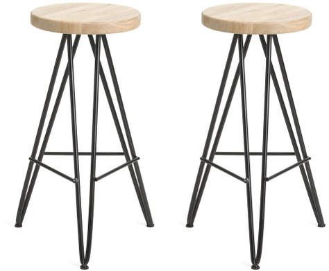 Set Of 2 Mango Wood Barstools - Accent Furniture - T.J.Maxx