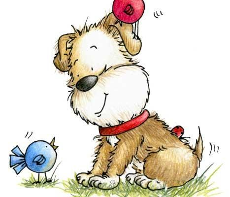 Puppy Talking To Little Birds With One On His Head Illustration By Sassy Cheryl Painted Rocks Kids Spring Illustration Easter Arts And Crafts