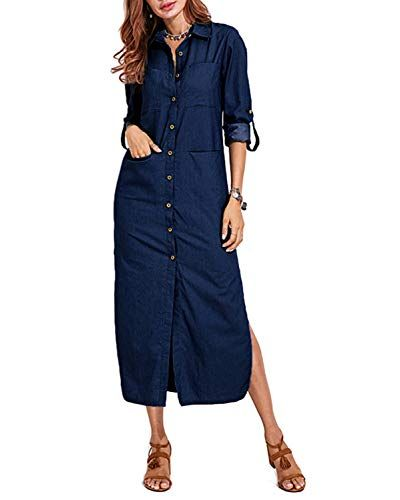 VONDA Womens Cuffed Sleeve Button Down Slit Hem Denim Shirt Dress with Pockets