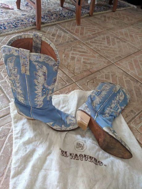 cc1eb4ad El Vaquero Womens Western Boots Sz 40 Italy Light Blue Textured ...