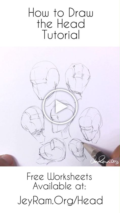 Learn how to draw the human head using this step by step process made for beginners (on the site). Grab the free worksheets on the website and learn how to draw the head from any angle by developing a deep understanding of the structure. Drawing human anatomy is immensely satisfying and these free worksheets will help you make quick progress! #tutorial #drawing #draw #howtodraw #anatomy #illustration #art #artist