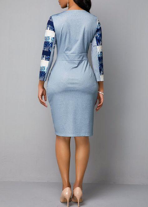 Three Quarter Sleeve Split Neck Abstract Print Dress | Rosewe.com - USD $32.13