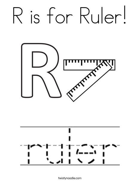 R Is For Ruler Coloring Page Twisty Noodle Color Worksheets