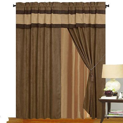 Brown Tan Micro Suede New Window Curtain Panels Liner Tassel Set