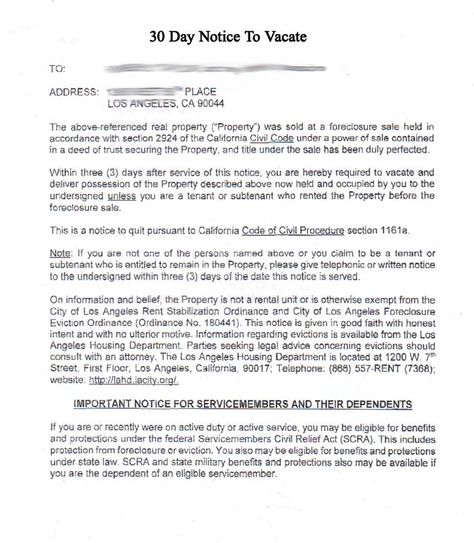 Printable Sample 30 Day Notice To Vacate Template Form Real - notice to vacate letter