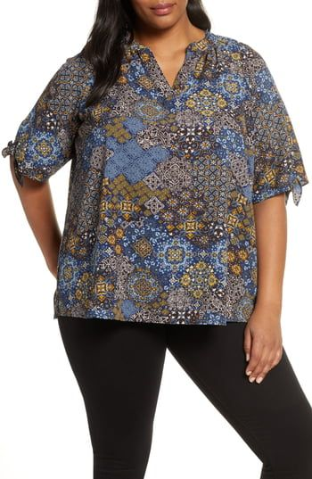 New MICHAEL Michael Kors Mega Paisley Tie Sleeve Blouse (Plus Size). Fashion Womens Clothing [$84]allpremiumstore