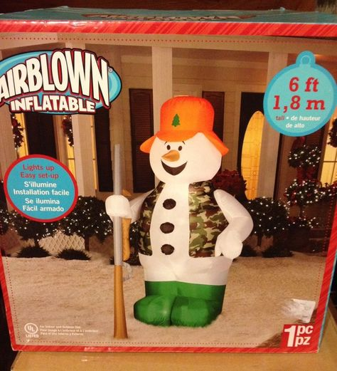 Christmas Inflatable 6 Camo Hunter Snowman Holding Rifle By Gemmy