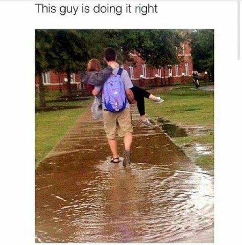 You're doing it right my friend #puddle #carry #couple #rainy #water #walk