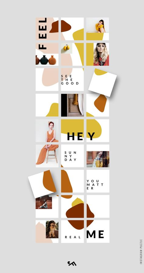 Instagram PUZZLE template - Abstract by CreativeFolks on @creativemarket | Introducing our Instagram PUZZLE template No.18 in trendy abstract style. Ideal for fashion, lifestyle and travelling bloggers, boutiques' owners, photographers, etc #abstract #instagram #graphic #templates *affiliate