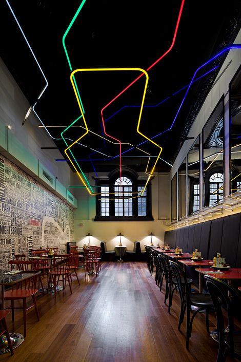 Commercial retail space interior design with unique lighting - Byron (Haymarket London) restaurant and bar & 346 best Architectural Lighting Inspiration images on Pinterest ... azcodes.com