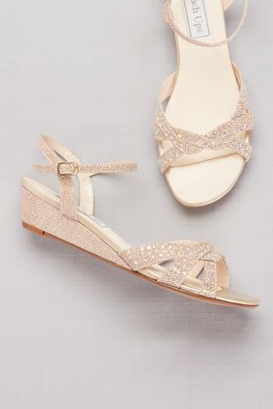 Glitter Mini-Wedge Sandals with Woven