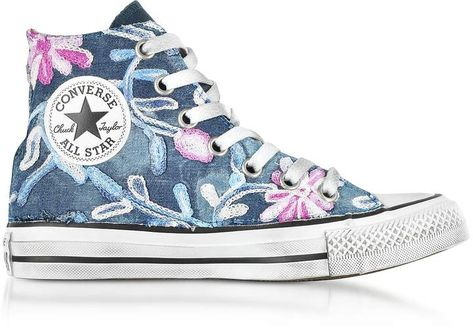 790aad04554736 Converse Limited Edition Chuck Taylor All Star High Vintage Denim Flowers  Sneakers
