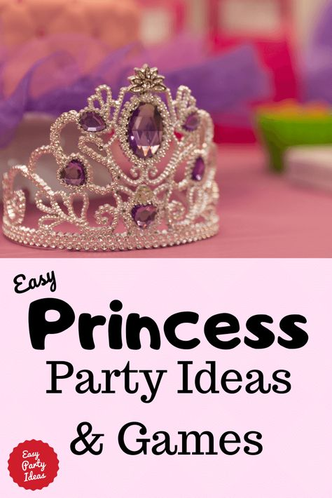Easy Princess Party Ideas and Games - Easy party ideas and games for a princess birthday party Princess Party Activities, Tea Party Games, Princess Birthday Party Decorations, Birthday Party Games For Kids, Disney Princess Birthday Party, Princess Party Favors, Birthday Party Favors, 5th Birthday, Birthday Crowns