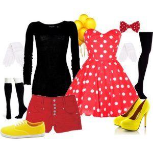 Disfraz Casero De Minnie Y Mickey Mouse Disfraces Caseros Para Mujer Traje De Mickey Disfraz Mickey