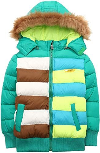 LJYH Boys Cotton Lining Outerwear Jackets with Hood Windproof Coat