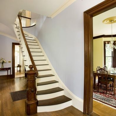 White Crown Molding With Stained Trim