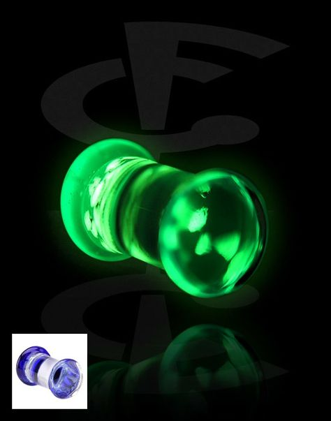 Plugs Glow in The Dark Skull Mustache Single Flared Ear Gauge Plug Cosmic Sold as a Pair