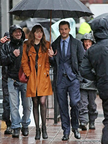 Spoiler Alert? Looks Like Christian and Anastasia Got Back Together: Jamie Dornan & Dakota Johnson Kiss on Set of Fifty Shades Darker http://www.people.com/article/jamie-dornan-dakota-johnson-filming-fifty-shades-darker