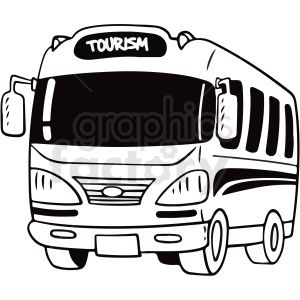 Black And White Cartoon Tourist Bus Vector Clipart Royalty Free