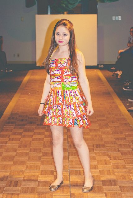 Dress made out of Skittle Wrappers by ACESpace, via Flickr