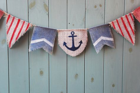 Nautical bunting banner in blue and red - Rustic decorative bunting - Boy's birthday party photo prop