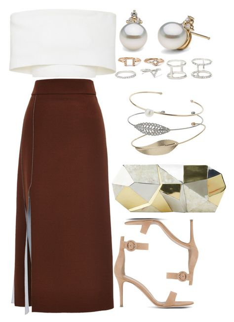 A fashion look from March 2016 featuring off the shoulder crop top, Nina Ricci and leather sandals. Dressy Outfits, Stylish Outfits, Spring Outfits, Girl Outfits, Fashion Outfits, Womens Fashion, Fashion Trends, Stylish Eve, Petite Fashion