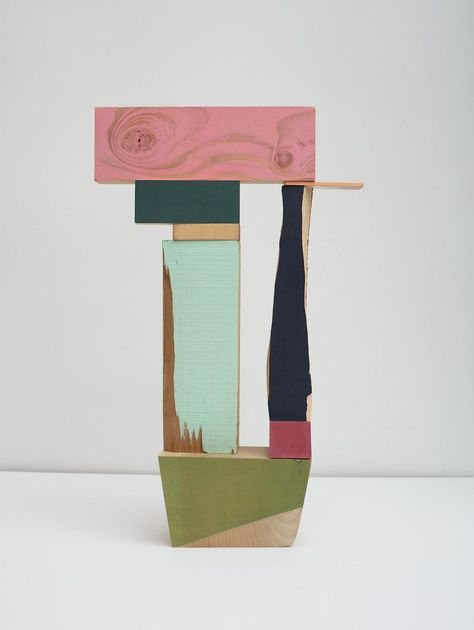THE WOOD COLLECTOR | Jim Osman, Pink Lintel, 2014, wood, paint, paper, 19 x12 x 3.5 inches (Front)