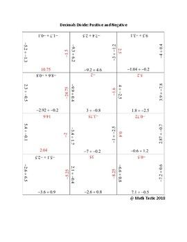 Divide Decimals : Division Puzzle with Positive and Negative ...