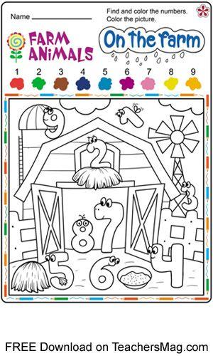 Preschool Number Worksheets Numbers Preschool Farm Theme Preschool Kindergarten Farm Theme Preschool farm theme worksheets