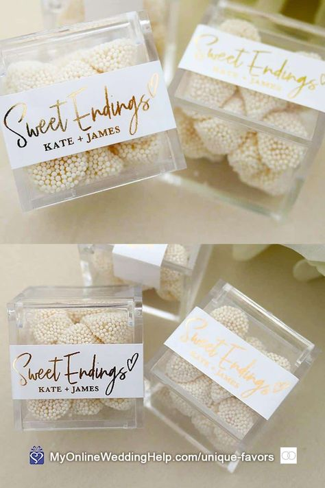 DIY candy wedding favors are easy and you can make them as unconventional as you want. Or buy these acrylic favor boxes with labels to add elegance. Look for them, along with a buy link for more information, in the non-traditional wedding favors post on the MyOnlineWeddingHelp.com blog. #WeddingFavors #CandyFavors #NontraditionalWedding #DIYFavors